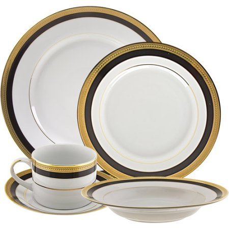 Sahara Black 20-Piece Dinnerware Set with Cup and Saucer, White with Black and Gold Border
