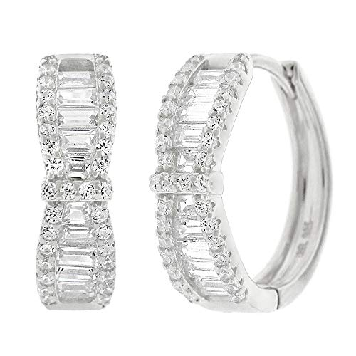 .925 Sterling Silver Womens Cubic Zirconia CZ Round Bow-Tie Baguette Clear Micro Pave Small Round Huggie Hoop Earrings (White)