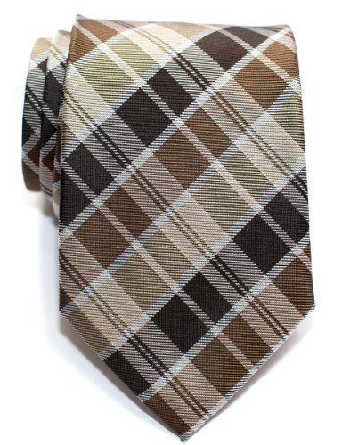 Retreez Modern Tartan Plaid Check Styles Woven Microfiber Men's Tie - Brown