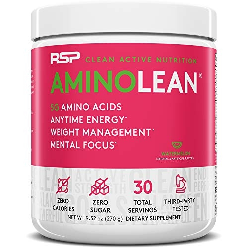 RSP AminoLean – All-in-One Pre Workout, Amino Energy, Weight Management Supplement with Amino Acids, Complete Preworkout Energy for Men & Women, Watermelon, 30 (Packaging May Vary)