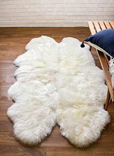 Super Area Rugs Genuine Australian Thick Sheepskin Rug Four Pelt Natural Fur, Quarto