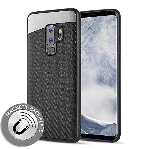 Samsung Galaxy S9 Plus Compatible Case, Microseven [Carbon Fiber Finish] [Light Thin Cover] [Non Slip] [Bulit-in Metal Plate Works with a Magnet Mount ] Case (Galaxy S9 Plus)