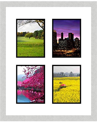 Silver Frames by Mail multimat-58674-aam0113 Four Square Opening Collage Frame for 4 x 6 Photo