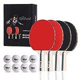 The Upstreet Box Set: 4 Ping Pong Paddles with 3 Star Ping Pong Balls for Table Tennis