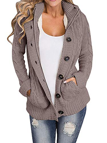 (Yacooh Womens Cardigan Sweaters Cable Knit Open Front Hooded Button Down Sweater)