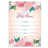 "Baby Shower Invitations Floral Blossom Fill-in-Style Blank Invites with Envelopes (Pack of 50) Large 5x7"" Delicate Colorful Flowers Blooming Girl Daughter Mom-to-Be Newborn Excellent Value VI0078"
