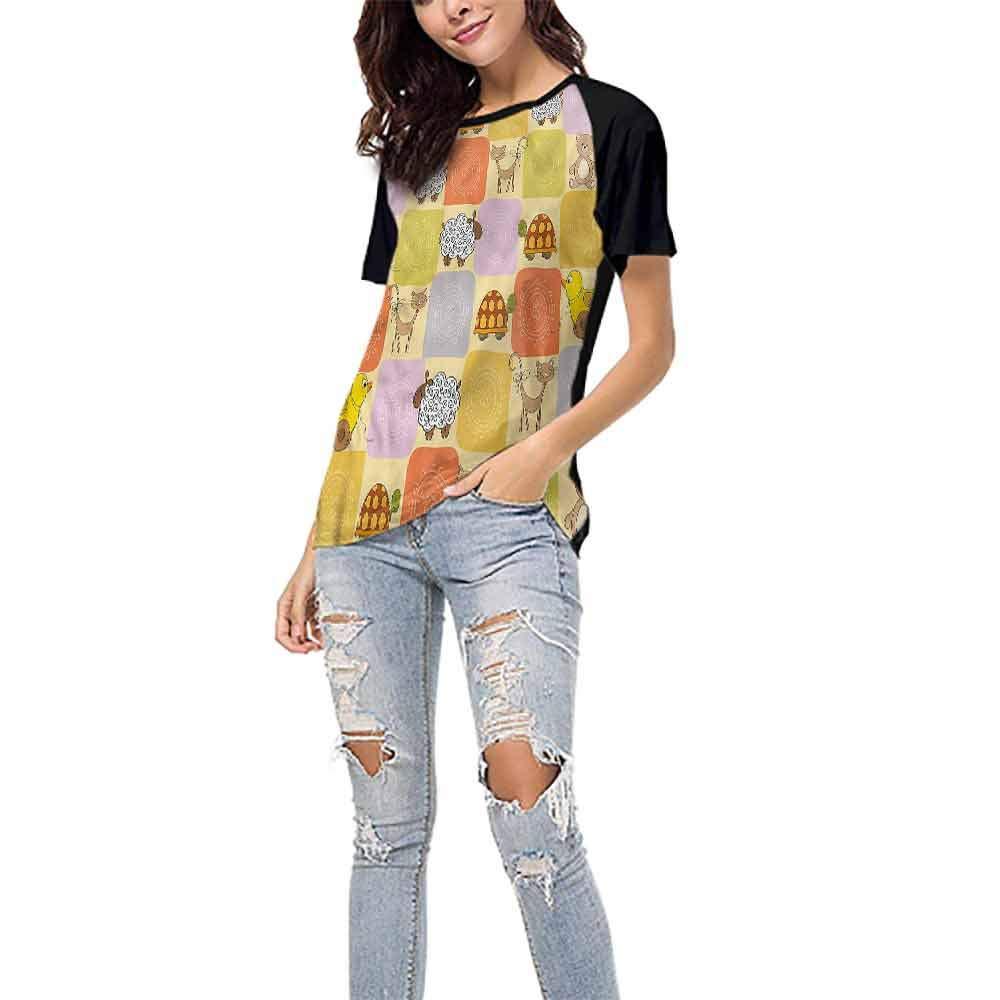 Womens Raglan Baseball T-Shirt,Nursery,Owls Flowers Colorful S-XXL Casual Blouses Baseball Tshirts Top