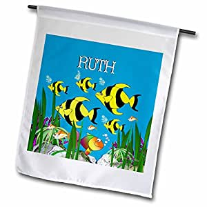 SmudgeArt Female Child Name Designs - Colourful tropical plants and fish design personalized with a female name RUTH - 18 x 27 inch Garden Flag (fl_51281_2)