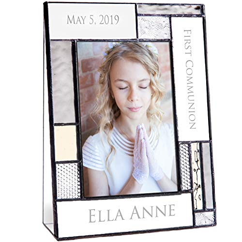 First Communion Gifts for Girls Or Boys Personalized Picture Frame Custom Engraved Glass 4x6 Vertical Photo Grey and Antique Yellow J Devlin Pic 392-46V EP614