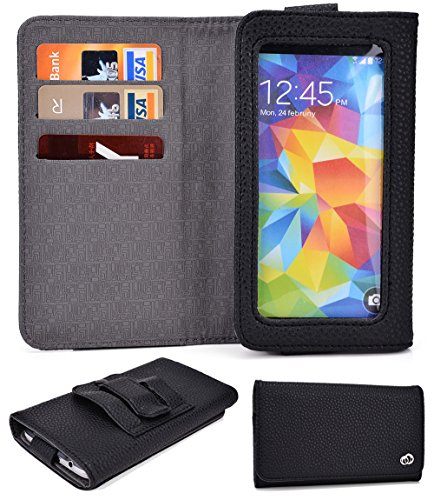 Alcatel One Touch Idol X+:Universal Cover w/Card Slots, Clear Window, Belt Clip (BLACK) NuVur ™
