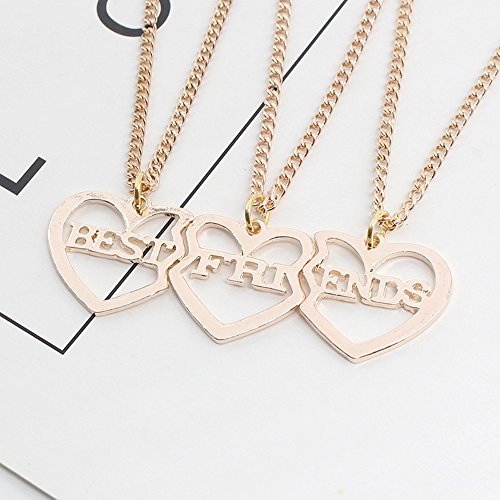 a45ddc62b559 Barato Elegant Rose 3 piezas Best Friends Forever BFF plata corazón clave  Colgante Collar Conjunto Amistad