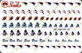 A England Nail Polish New England Patriots Waterslide Nail Decals (Tattoos) V1 (Set of 87)