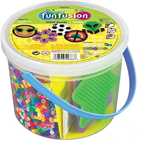 Amazon.com: Perler Beads Pegboards Bundle - Glow in the Dark Kit and 6000 Count Buckets, Ironing Papers, Bead Pen and Craft Storage Box