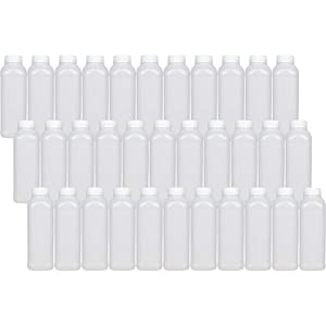 16 oz Empty Plastic Juice Bottles - Set of 33 with Tamper Evident Caps. BPA Free