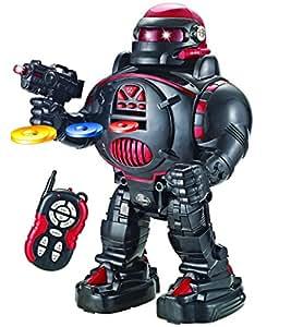 amazon com remote control robot roboshooter black red robot toy