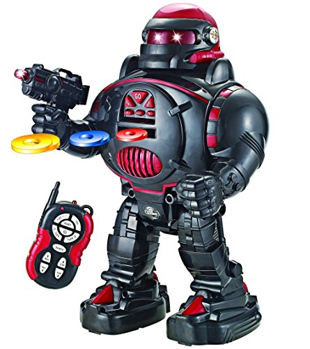 Remote Control Robot - RoboShooter Black & Red Robot Toy - Fires Discs, Dances, Talks - Super Fun RC Robot TG542-R by ThinkGizmos