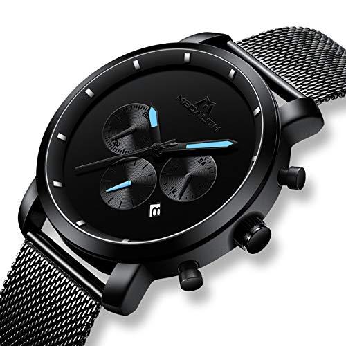Chronograph Watch Dress Sport - Mens Black Watches Men Military Waterproof Chronograph Sport Stainless Steel Wrist Watch Business Dress Date Analogue Quartz Watches for Man