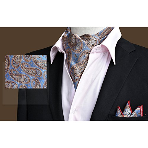 Wedding Business Silk Handkerchief Set Elegant Ascot Blue YCHENG Tie 19 Floral Paisley Men's Xlj x8q1BxU0wn