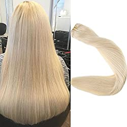 Full Shine 18 inch Straight Hair Weft Bundle Color #60 Plautinum Blonde Remy Human Hair Weft Weave Extensions Double Wefted 100g Each Bundle Full Head Remy Hair Human