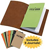 Handcrafted Top Grain Leather Journal Notebook Cover: Includes 8 Bonus Refillable Field Note Book Journals/Compatible with Field Notes and Moleskine Cahier Notebook (3.5''x5.5'')
