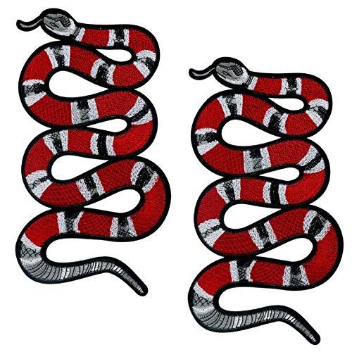 Special100% 2 PC Large Red Snake Patch Pattern Iron On Patches Embroidery Applique Decoration Vintage Animal Patch DIY Patch for T-shirt,Jeans Clothing (Snake Back Patch)