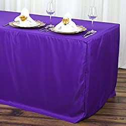 Efavormart 6FT Fitted Purple Polyester Table Cover Commercial Grade Wedding Banquet Event Tablecloth for Event Tradeshow Use