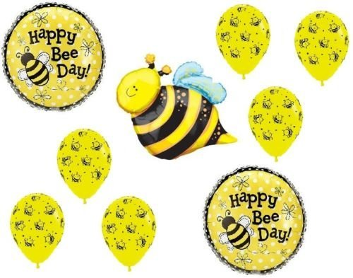 (LoonBalloon BUMBLE BEE Day BumbleBee Polka Dot Birthday PARTY 9 Mylar Latex BALLOONS Set B)