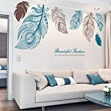 Wall sticker feathers living room tv background wall sticker bedroom bedside entrance art decoration-A 85x185cm(33x73inch)
