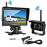 "LeeKooLuu Wireless Backup Camera and 7"" Monitor Kit For Camper/MPV/Pickup/Van/Truck/SUV/Caravan Built-in Wireless Rear View Camera Monitor System Guide Line Optional IP69 Waterproof Night Vision"