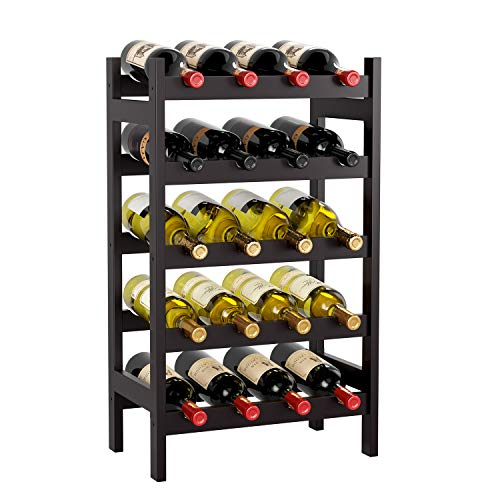 HOMECHO 20 Bamboo Wine Display Bottles Storage Rack Free Standing with 5-Tier Shelf Wobble-Free Retro Color HMC-BA-003