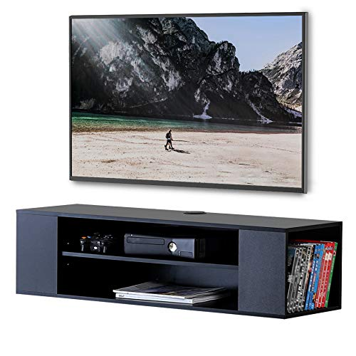 Mounted Wall Av Furniture (FITUEYES Black Wood Grain Wall Mounted Audio Video for Xbox one DVD Players Game Consoles)