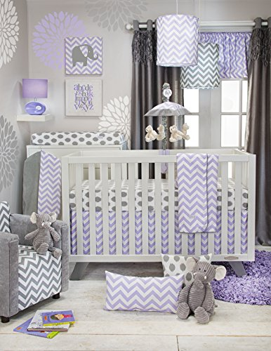 Grey Dahlia 8 In 1 Baby Girl Crib Bedding Collection By