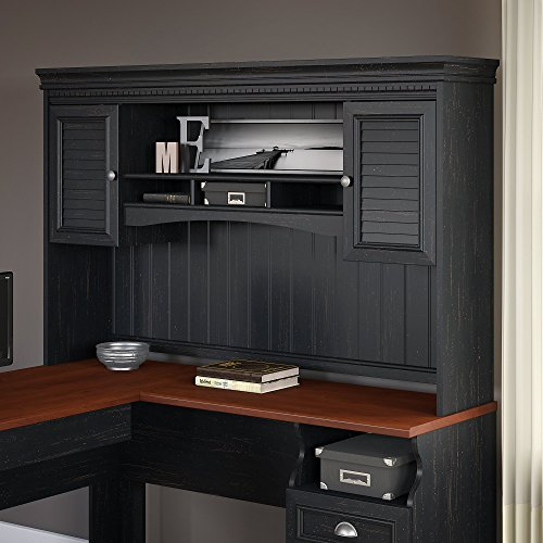 Fairview Hutch for L Shaped Desk in Antique Black by Bush Furniture