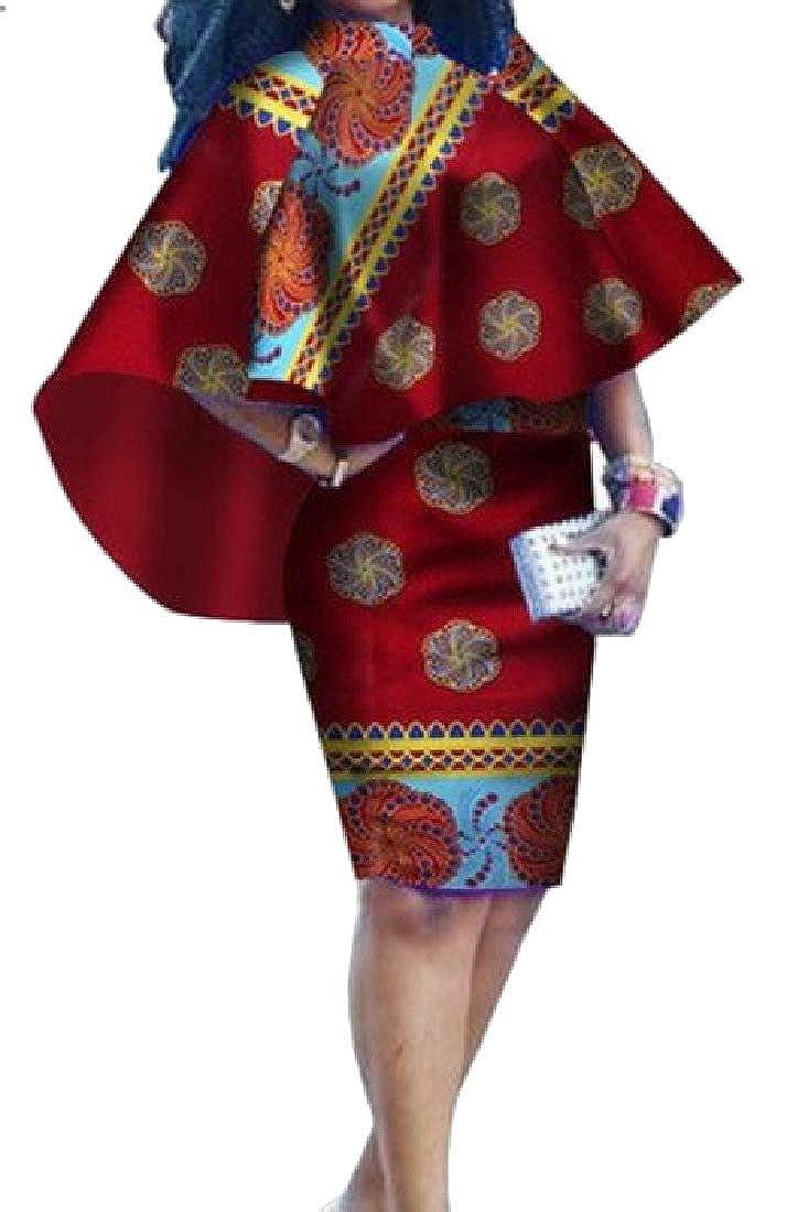 1 FreelyWomen Vintage Floral African Knee Length Slim Plus Size Mid Dress