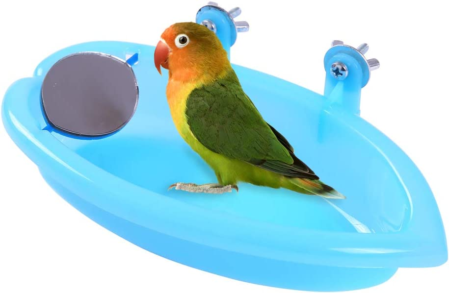QBLEEV Bird Baths Tub with MirrorFor Cage, Parrot Birdbath Shower Accessories, Bird Cage Hanging Bath Bathing Box for Small Birds Parrots : Pet Supplies