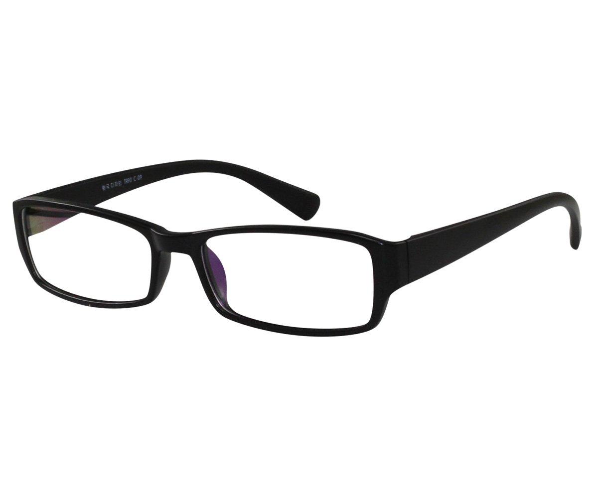 EyeBuyExpress Unisex RX Glasses Professional Black Mid Coverage Rectangular TR-90 Flex +7.00