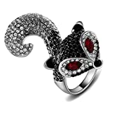 Yfnfxl Womens Vintage Crystal Fox Rings Antique Animal Ring With Full Rhinestones (9)