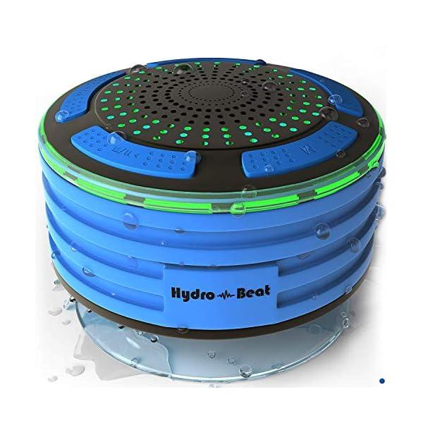 Radios de Douche - Hydro-Beat Illumination. Haut-parleur IPX7 portable entièrement étanche à l'eau avec radio FM intégrée et lumières d'ambiance LED. Rechargeable à l'aide de micro USB. (Bleu et Noir) 1