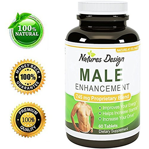 Natural Male Enhancement Supplement - Best Libido Support Pills for Men - Boost Drive & Stamina - Enhances Bedroom Performance - Pure Tongkat Ali + Ginseng + Maca + Horny Goat Weed - By Natures Design