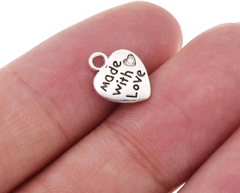 CHZIMADE 20pcsAntique Silver Made with Love Letter Carving Label Tag Charms Love Shape for Bangle Bracelet Jewelry Pendants Making Accessories Handcrafts
