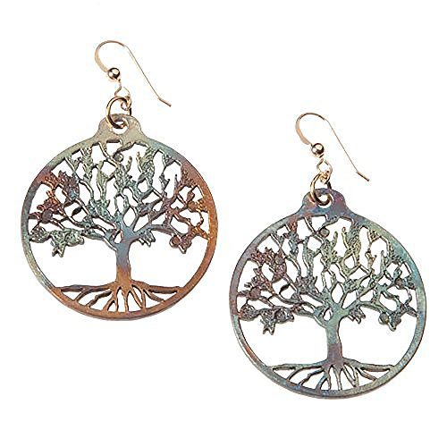 Pendant Dangle Wire Gold Cast (Tree of Life Iridescent Earrings on French Hooks)