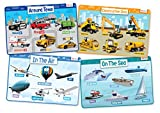 merka Educational Kids Placemats - Includes: Cars, Construction Vehicles, Planes and Boats - Set of 4 Non Slip & Washable
