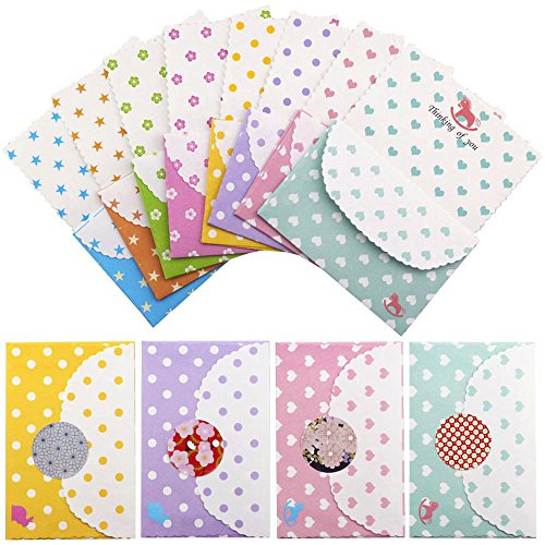 Bolbove Cute Little Set of Stationery 64 Writing Paper Sheets & 32 Envelopes + 36 Seal Stickers (A-Heart+Star+Dot+Flower) (Star Seal Note)