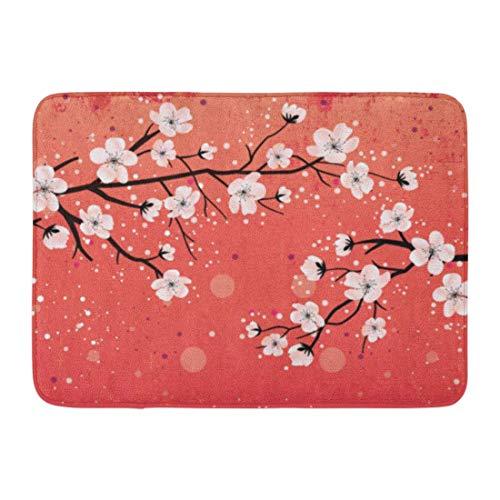 cross ctA Bath Mat Asian Cherry Blossom Black Tree Chinese Japanese Oriental Flower Bathroom Decor Rug