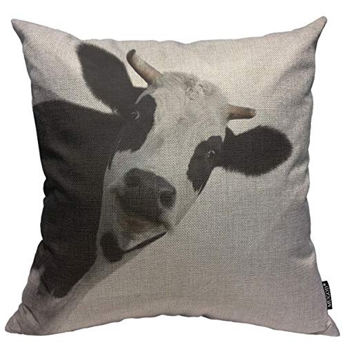 Mugod Throw Pillow Cover Dairy Funny Cow White Crazy Animal Face Farm Home Decorative Square Pillow Case for Men Women Boy Gilrs Bedroom Livingroom Cushion Cover 18x18 Inch, Black Beige Pillowcase