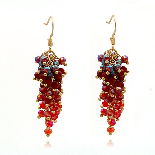 C&L Accessories C&L Colored Cluster Faceted Crystal Beads Dangle Earrings (Red)