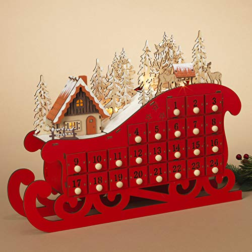 Christmas Sleigh Box - One Holiday Way LED Lighted Red Wooden Bavarian Sleigh Advent Calendar - Christmas Countdown Decoration with 24 Storage Drawers