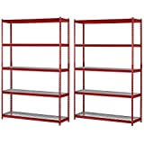 "Muscle Rack UR184872-R 5-Shelf Steel Shelving Unit, 48"" Width x 72"" Height x 18"" Length, Red (Pack of 2, Red)"