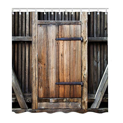 Moslion Wood Bath Shower Curtain Set Vintage Wooden Plank Entrance Door Gate Farmhouse Barn Wall Board Shower Curtains Home Decorative Waterproof Polyester Fabric Hooks 72x90 Inch