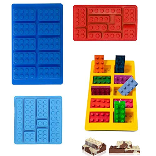 Block Non-stick Ice Cube Tray Silicone Mold, Candy Moulds, Chocolate Moulds, For Kids Party's & Baking Building Block Themes & Cake Muffin Cupcake Gumdrop Jelly(Set of 3 pcs) -